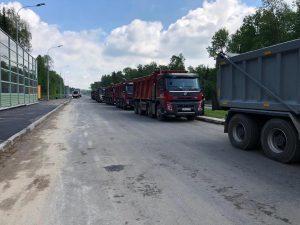 Укладка покрытия на автомобильной дороге Марьино-Саларьево