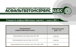 Изменение стоимости продукции с 1 апреля 2021 года.